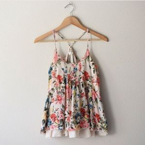 Anthropologie floral tank with adjustable straps